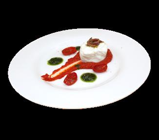 Burrata di mozzarella con acciughe cantabriche pomodori al forno e crema di pomodori - 4 porzioni