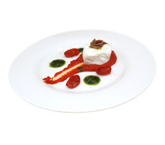 Mozzarella Burrata with Cantabrian anchovies baked tomatoes and tomatocream- 4 portions
