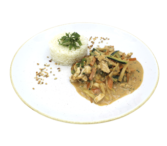 Thai curry with vegetables, chicken and basmati rice (4 portions)