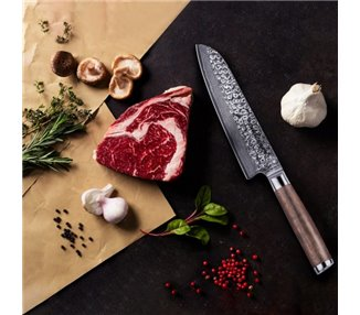 adelmayer® Damascus knife Santoku knife - hand ground in the traditional way