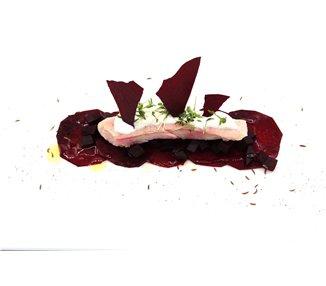 Räucherforelle mit Ronen in drei Texturen roh/gekocht/dehydriert mit Krenschaum und Kresse - 2-4 Portionen