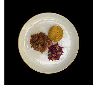 Deer pepper with buckwheat polenta tarts and red cabbage - 2 portions