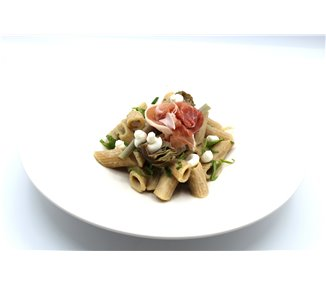 Penne with artichoke sauce, goat cheese and Begogni ham - 2 portions